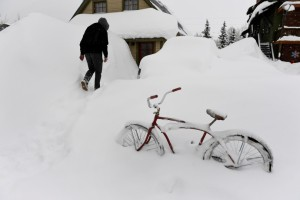 Over 7 feet of snow in Crested Butte, Colorado.
